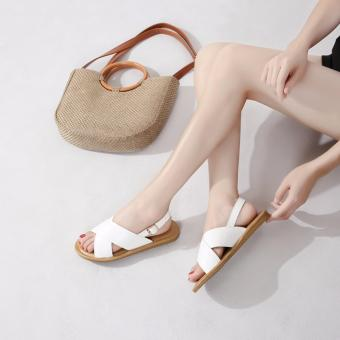 Quality Fashion Women Flat Strap Cross Sandals - White