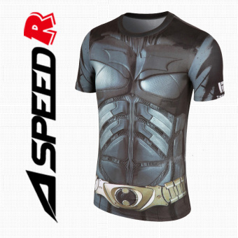 Quick-drying breathable Running Training Sports Top slim fit clothing (Gray Batman) (Gray Batman)