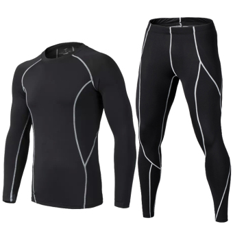 Quick-drying fitness room men compression three sets (Thin black gray line suit)