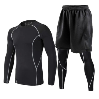 Quick-drying fitness room men compression three sets (Three sets of (thin gray line suit + shorts))