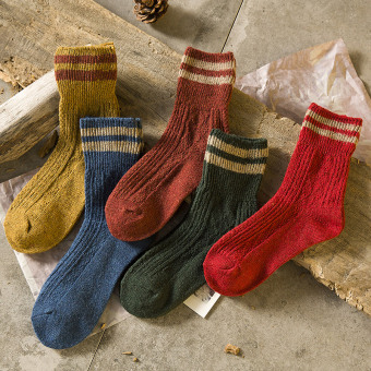 Rabbit fur and sheep wool autumn and winter thick warm women's Socks