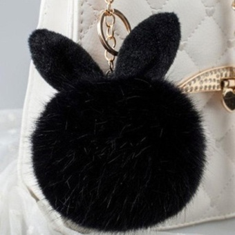 Rabbit Fur Ball PomPom Cell Phone Car Keychain Pendant Handbag Cute Key Ring LAX - intl Price Philippines