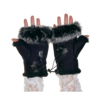 Rabbit Fur Girls Hand Wrist Warmer Fingerless Gloves - Black - picture 2