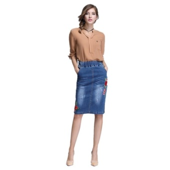 Ready Stock Women High Elastic Waist Embroidery Skiny A Line Mini Denim Skirts Plus Size S-4xL - intl - 3