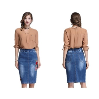 Ready Stock Women High Elastic Waist Embroidery Skiny A Line Mini Denim Skirts Plus Size S-4xL - intl
