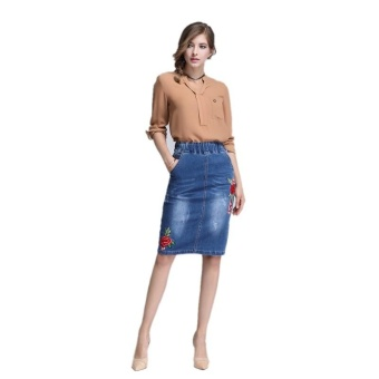 Ready Stock Women High Elastic Waist Embroidery Skiny A Line Mini Denim Skirts Plus Size S-4xL - intl - 4