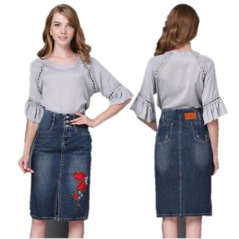Ready Stock Women High Waist Embroidery Split A Line Knee Length Denim Skirts Plus Size S-4xL - intl