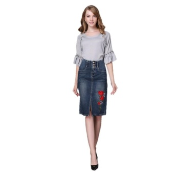 Ready Stock Women High Waist Embroidery Split A Line Knee Length Denim Skirts Plus Size S-4xL - intl - 2