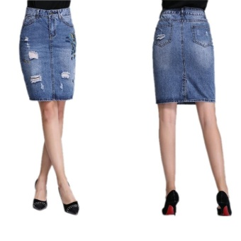 Ready Stock Women High Waist Hole A Line Knee Length Denim Skirts Plus Size S-4xL - intl