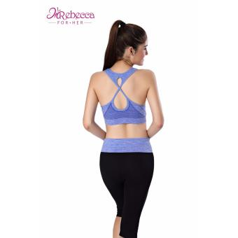 Rebecca For Her Sexy Sports Bra; Ladies STYLISH Cross Back Suitable For Fitness; Yoga, Jogging, Zumba,Gym (BLUE)