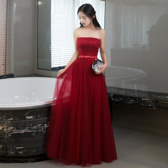 Red bride New style dong jiu evening dress wedding dress (825 long Burgundy color B Section)