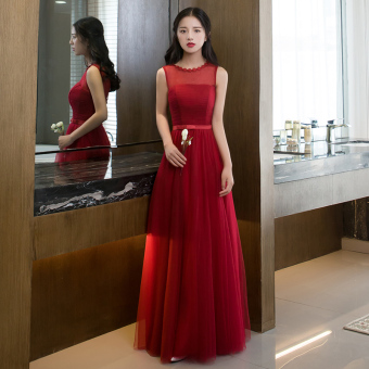 Red bride New style dong jiu evening dress wedding dress (825 long Burgundy color C Models)