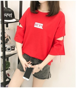 red fashion Casual T shirts Women FASHION Summer O Neck hollow outshort sleeve hey Print Tee hole T-shirt - intl