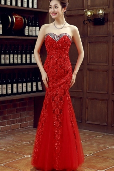 Red royal evening dress elegant evening gown - Intl Price Philippines