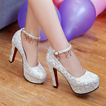Red spring New style lace wedding shoes (White)