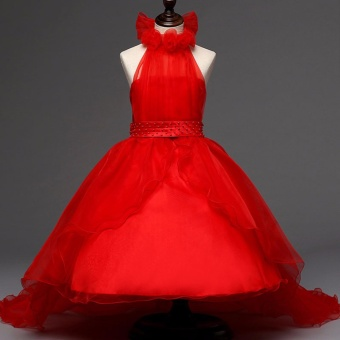 Red Tulle Princess Dress for Kids Girl Formal Party Clothes FashionHalter Dresses Girls Pageant Stage Outfits - intl
