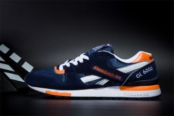 Reebok Mens Casual Shoes GL6000 Sports Shoes Running Shoes ReebokClassical Walking Shoes (darkblue orange) - intl