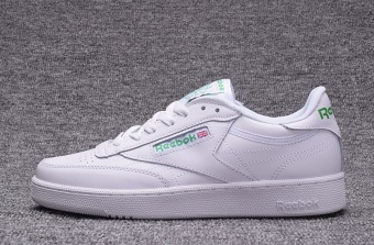 Reebok Mens Casual Shoes Leather Loafer Shoes Reebok Club C NewFashion Leather Skateboard Shoes(white with green) - intl