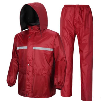 Reflective Adult Raincoat Set (Suit purplish red color)