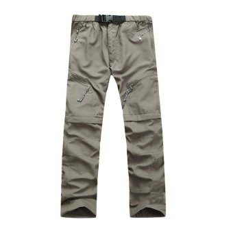 Removable Men Quick Drying Pants Outdoor Casual BreathableTrousers(Khaki)