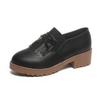 Retro autumn New style heavy-bottomed female shoes small shoes (Black)