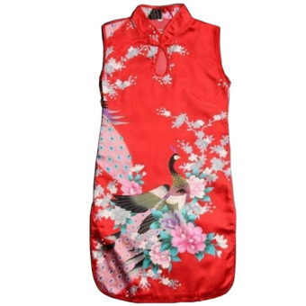 Retro Chinese Kid Child Girl Baby Peacock Cheongsam Dress