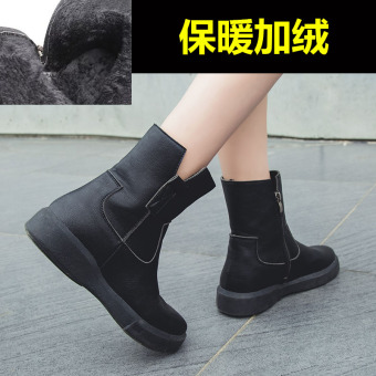 Retro female student thick bottomed Women's Singles boots Martin boots ([Side zip Plus velvet models] Black)
