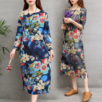 Retro Linen autumn New style dress (Blue)