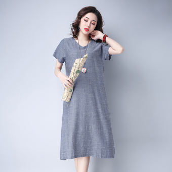 Retro Linen Loose and plus-sized dress New style skirt (Gray)