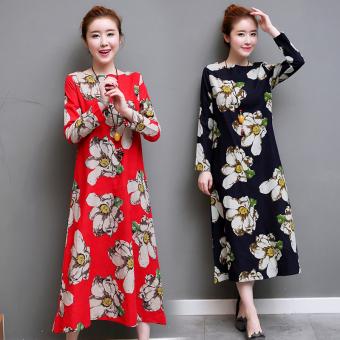 Retro Linen loose round neck long Qun Lian dress (Red)