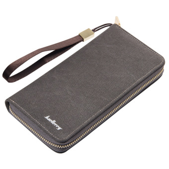 Retro men's long single zipper wallet (Solid color gray)