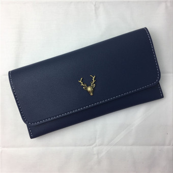 Retro New style deer women's wallet cool leather wallet (Blue) (Blue)