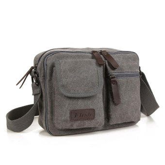 Retro New style men's canvas bag shoulder backpack (Gray)