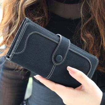 Retro Nubuck Leather Wallet Women Long Purse Clutch Two Fold Girls Casual Hasp Snap Handbag Phone Bag for Shopping Party Travelling (Black) - intl