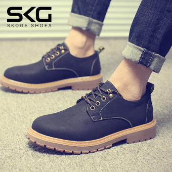 Retro Plus velvet autumn and winter clothes shoes men casual leather shoes (Black)
