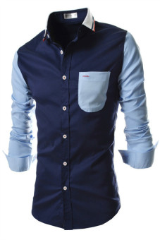 Reverieuomo CS32 Single Breasted Knit Collar Shirt (Navy Blue) - picture 2