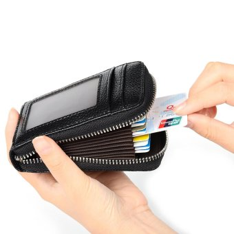 RFID Blocking Genuine Leather Credit Card Case Holder SecurityTravel Wallet Front Pocket Wallets for Men and Women(Black) - intl