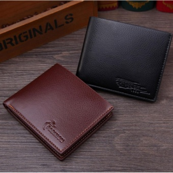 RFID Blocking Genuine Leather Wallets for Men Bifold Wallet Cowhide - intl