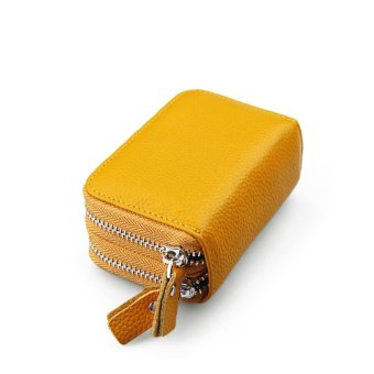 RFID Shielding Primely Genuine Leather Wallet, Credit Card SafeTravel Pocket/Holder/Case Protector/Coins Holder Yellow - intl