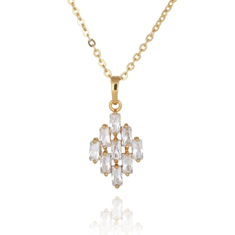 Rhombus 18K Gold Plated Pendant Necklace with Austrian Zircon