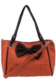 Ribonned Leather Bag for Ladies (Brown Orange)