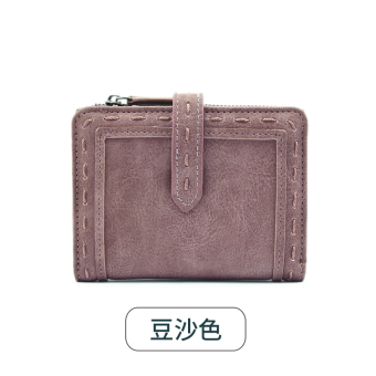 Rinka doll Jianyue New style female Japanese and Korean style leather wallet women's wallet (Red bean paste color)