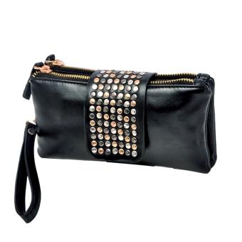 Rivet Clutch Bags Women Wallet PU Leather Evening Handbags Black