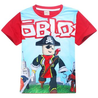 ROBLOX Boys' 105-155cm Body Height Cotton T-shirts(Color:Red) - intl