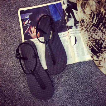 Roman sandals fashion wild women sandals flat flip-flops sandals(Black) - Intl - 5