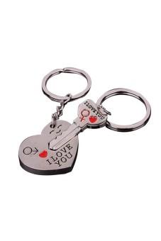 Romantic Key Heart I Love You Pendant Key Silver Set