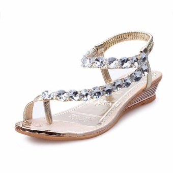 Rome Bling Bling Women Flat Sandals Toe Clip Lady Sandals Shoes Female Big Size 35-42 (Gold) - intl