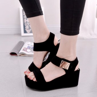 Rome Style Summer Women High Heel Sandals Platform Peep Toe LadyWedges Sandals Shoes (Black) - intl Price Philippines