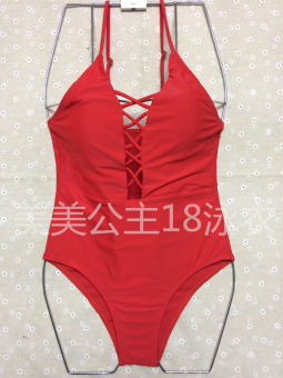 Rope one-piece swim clothing New style swimsuit (16093-red) (16093-red)