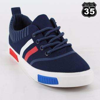ROUTE35 Flannel Sneakers Rubber Shoes (Navy Blue J-1316)